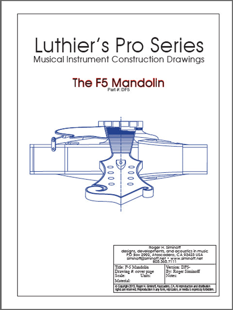 Full size blueprints and plans for building an F5 mandolin designed by Lloyd Loar.