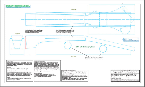 Fixture, pattern, and template drawings for constructing an F5 mandolin.