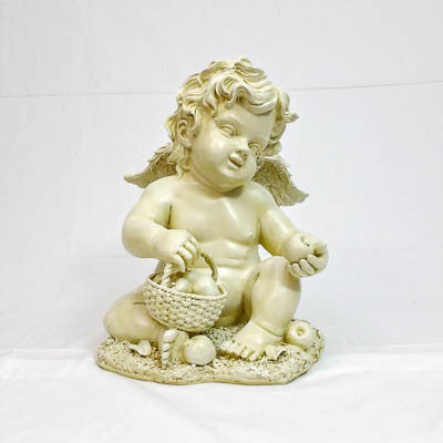 Cupid Figurine with Fruit Basket - HomeMax Furnishing
