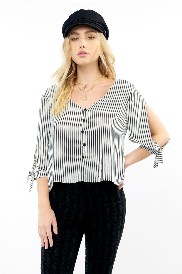 Carter Blouse - Pinstripe,saltwater luxe,Saltwater Luxe,WOMENS