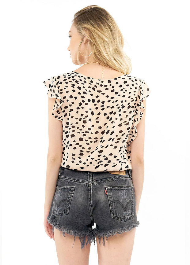 Harlow Blouse - Cheetah,saltwater luxe,Saltwater Luxe,WOMENS