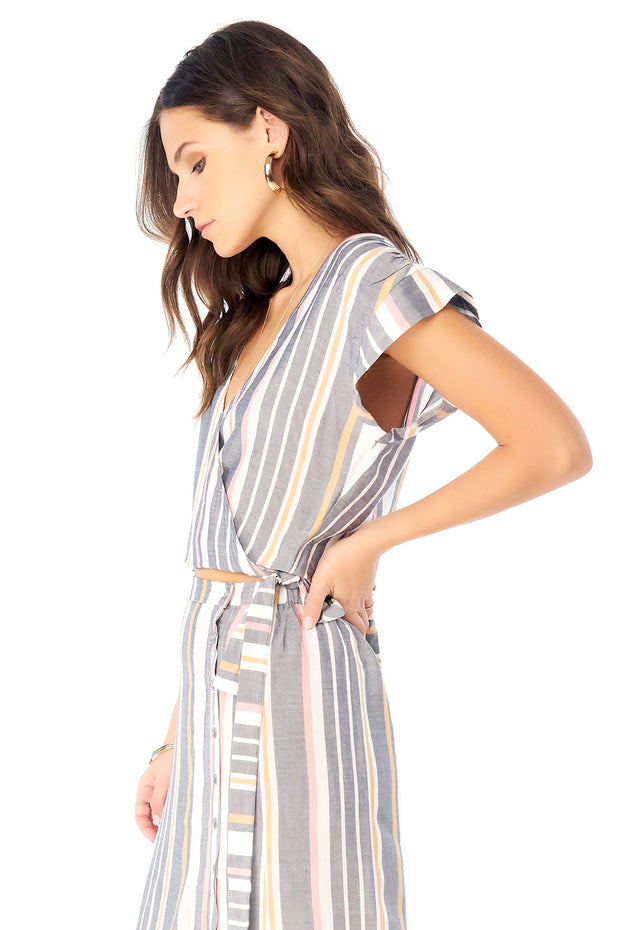Romy Wrap Top - Cool Stripe,saltwater luxe,Saltwater Luxe,WOMENS