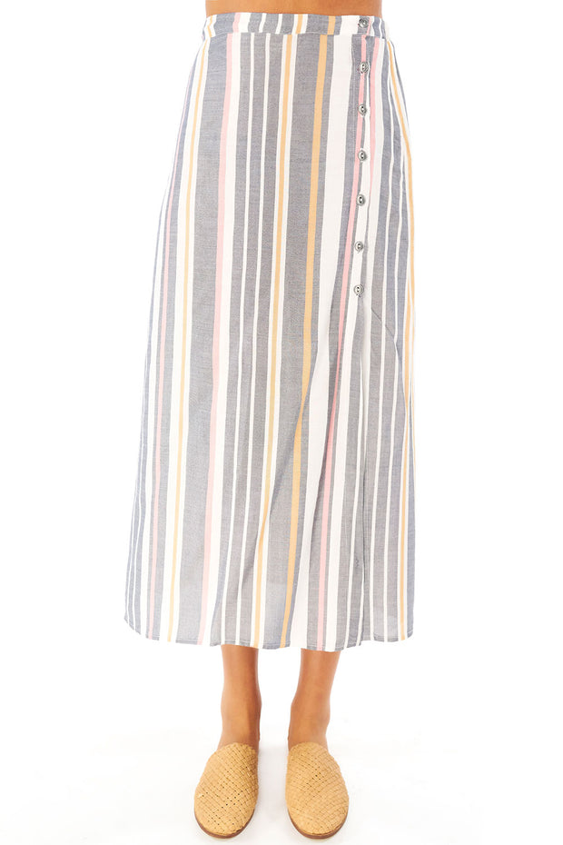 Lena Midi Skirt - Cool Stripe,saltwater luxe,Saltwater Luxe,WOMENS