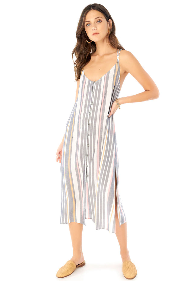 Lily Midi Dress - Cool Stripe,saltwater luxe,Saltwater Luxe,WOMENS