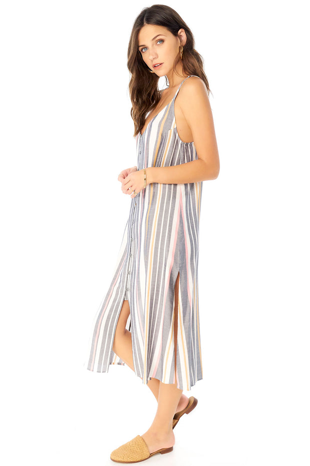 Lily Midi Dress - Cool Stripe,saltwater luxe,saltwater-luxe,WOMENS