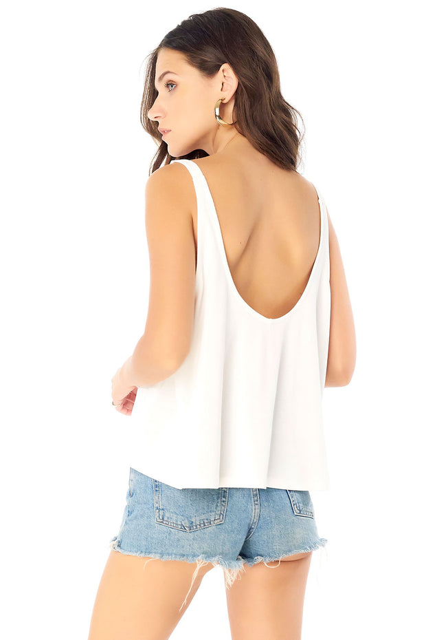 A-Line Scoop Tank - White,saltwater luxe,Saltwater Luxe,WOMENS