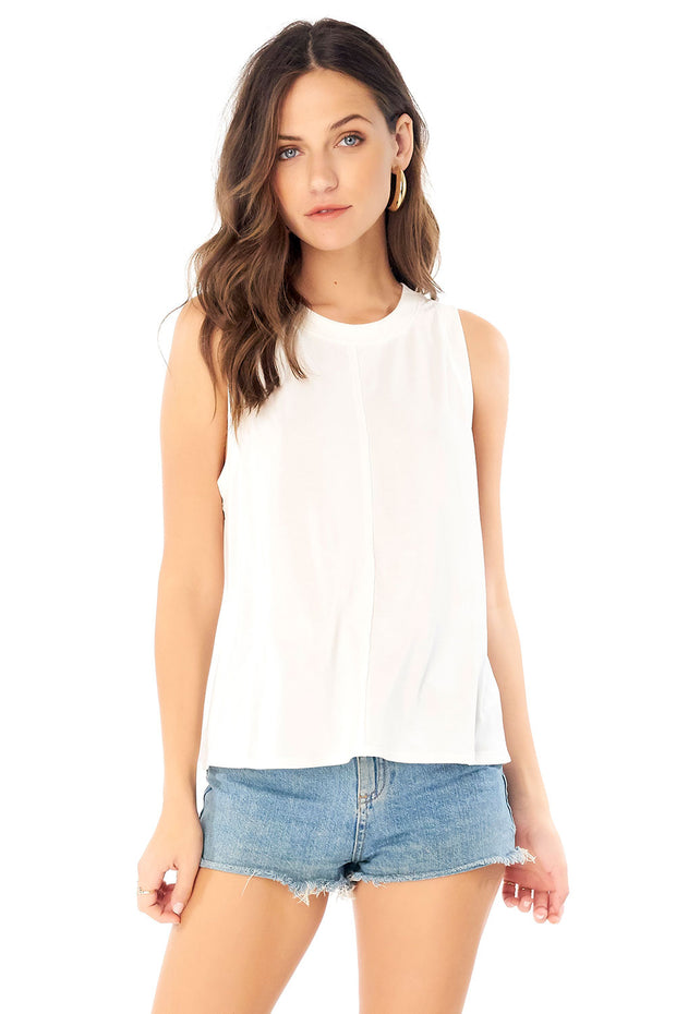Seamed Muscle Tank - White,saltwater luxe,Saltwater Luxe,WOMENS
