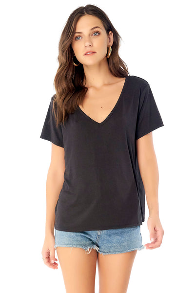 V-Neck Short Sleeve Tee - Black,saltwater luxe,Saltwater Luxe,WOMENS