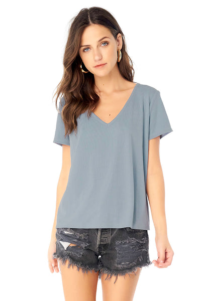 V-Neck Short Sleeve Tee - Marine,saltwater luxe,Saltwater Luxe,WOMENS
