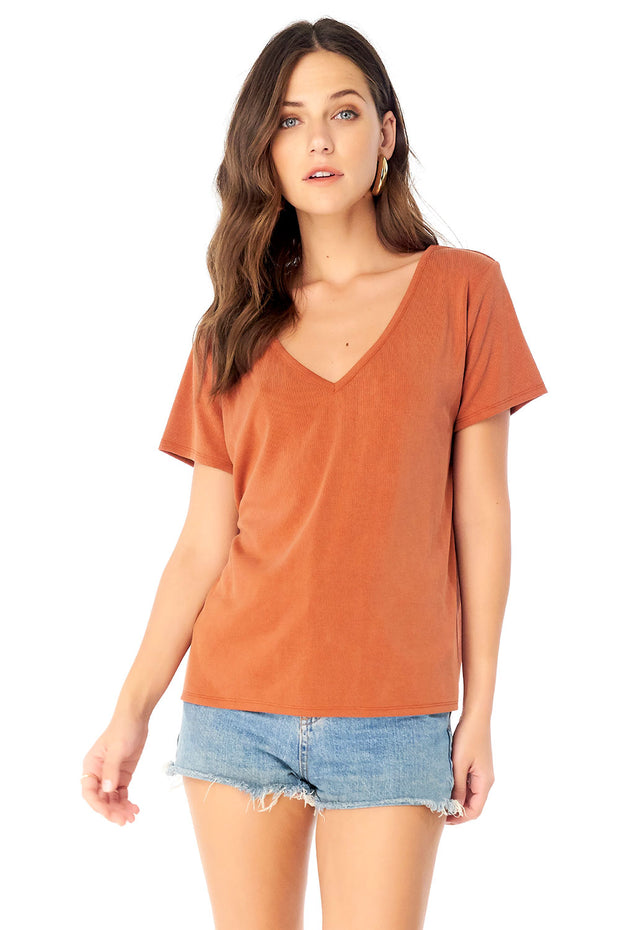 Basic V- Neck Short Sleeve Tee,saltwater luxe,saltwater-luxe,WOMENS