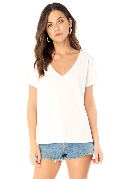 V-Neck Short Sleeve Tee - White,saltwater luxe,Saltwater Luxe,WOMENS