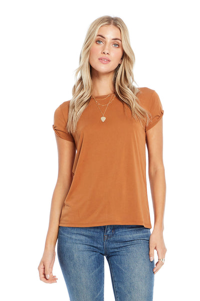 Basic Crew Neck Tee with Rolled Sleeve,saltwater luxe,Saltwater Luxe,WOMENS