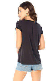 Rolled Short Sleeve Tee - Black,saltwater luxe,Saltwater Luxe,WOMENS