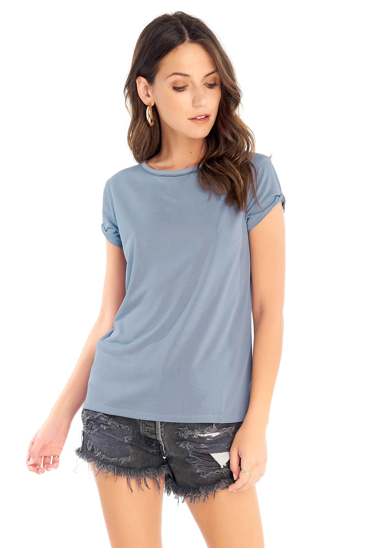 Rolled Short Sleeve Tee - Marine,saltwater luxe,Saltwater Luxe,WOMENS
