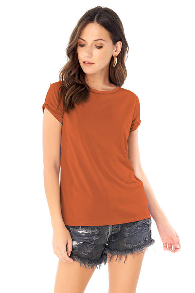 Rolled Short Sleeve Tee - Sienna,saltwater luxe,Saltwater Luxe,WOMENS