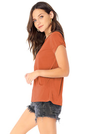 Basic Crew Neck Tee w/ Rolled Sleeve,saltwater luxe,saltwater-luxe,WOMENS