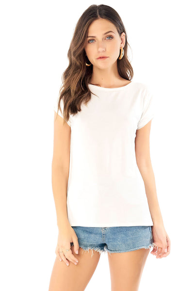 Rolled Short Sleeve Tee - White,saltwater luxe,Saltwater Luxe,WOMENS