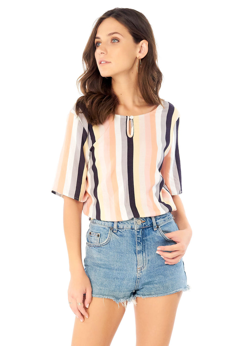 Parker Blouse - Summer Stripe,saltwater luxe,Saltwater Luxe,WOMENS