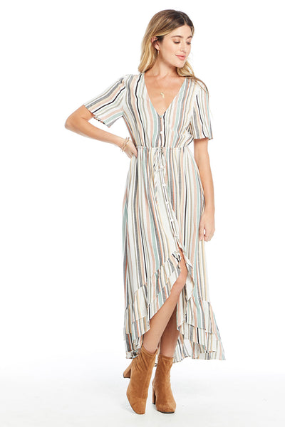 Babylon Midi Dress - Night Stripe,saltwater luxe,Saltwater Luxe,WOMENS