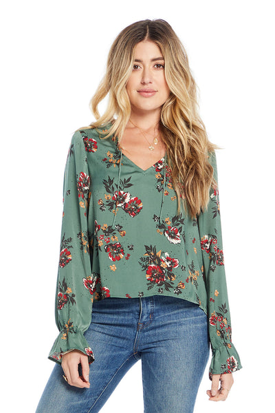 Tasha Blouse - Midnight Blooms,saltwater luxe,Saltwater Luxe,WOMENS