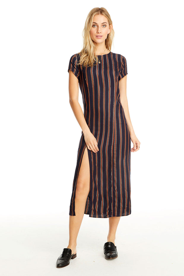 Skye Midi Dress - Metallic Stripe,saltwater luxe,Saltwater Luxe,WOMENS