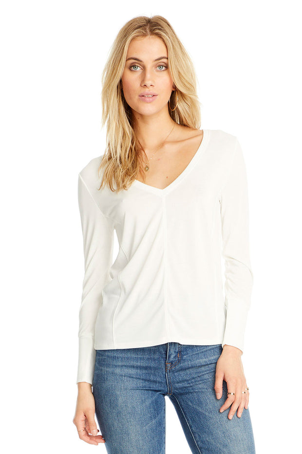 V Neck Long Sleeve Seamed Tee,saltwater luxe,Saltwater Luxe,WOMENS
