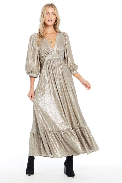 Wren Maxi Dress - Gold Sequin