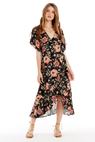 Orchid Midi Dress - Floral Dot Wrap in Black