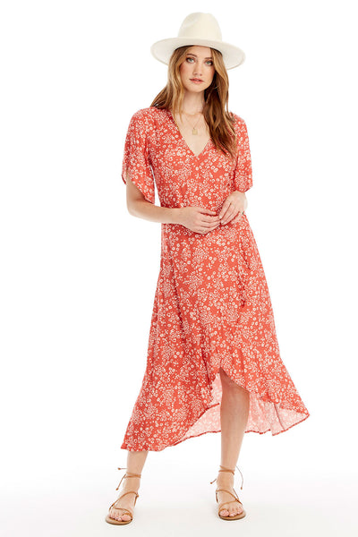 Orchid Midi Dress - Heart Cheetah in Red