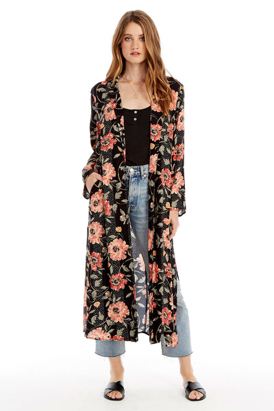 Emery Duster - Floral Dot in Black