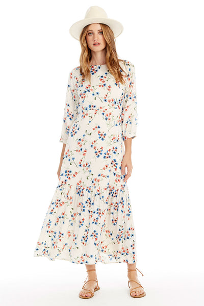 Lottie Maxi Dress - Spring Blossom in Vanilla