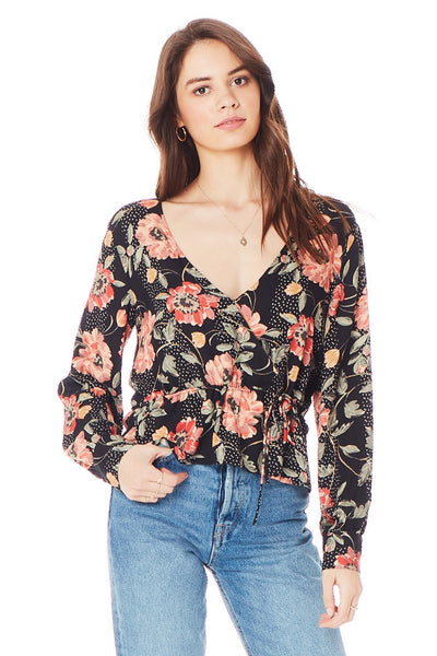 Naples Blouse - Floral Dot Wrap in Black