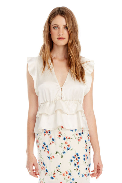Atlanta Top - Stone Flutter Sleeve in White