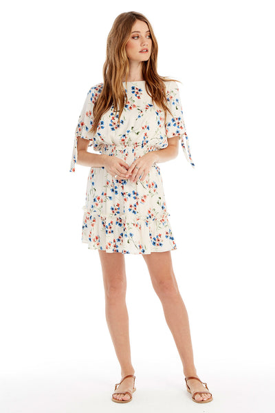 Newport Mini Dress - Spring Blossom in Vanilla