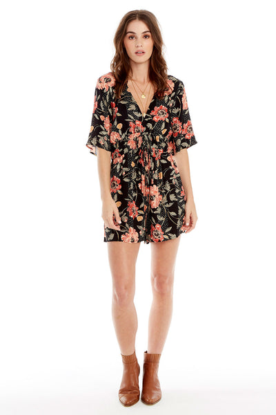 Lido Romper - Floral Dot in Black