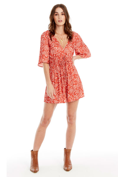 Lido Romper - Heart Cheetah in Red