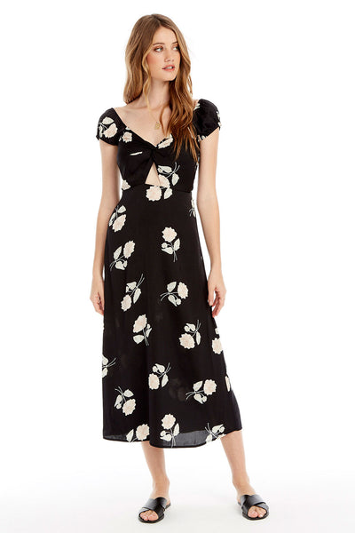 Aspen Midi Dress - Night Blooms