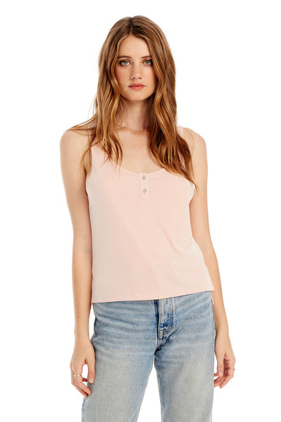 Slim Tank With Front Placket in Bellini