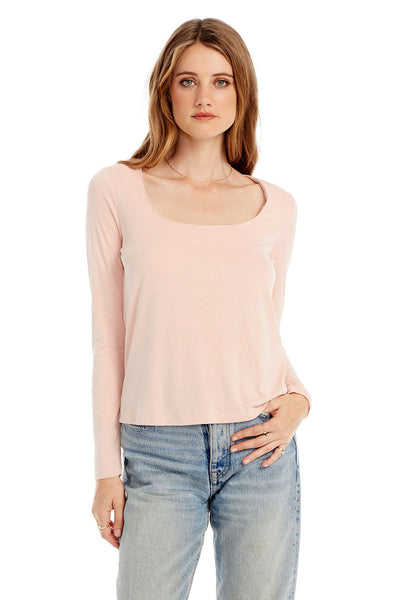 Basic Square Neck Long Sleeve Tee in Bellini