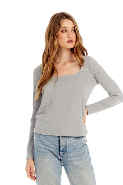 Basic Square Neck Long Sleeve Tee in Heather Gray