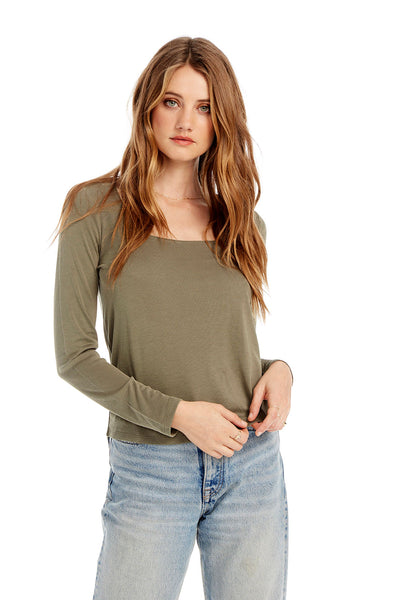 Basic Square Neck Long Sleeve Tee in Olive Green