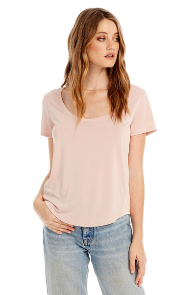Basic Scoop Neck Tee With Side Rib Insets in Bellini