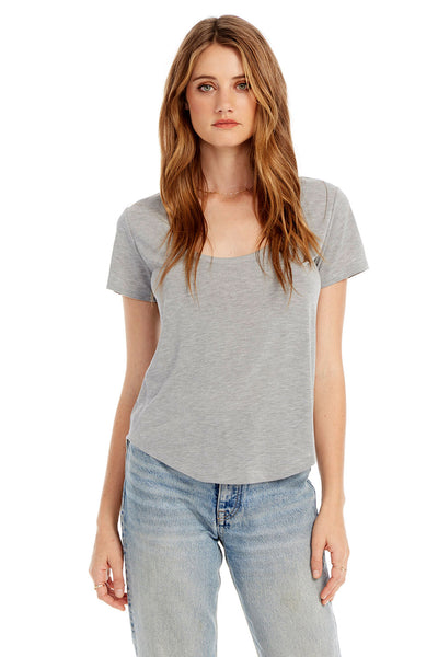 Basic Scoop Neck Tee With Side Rib Insets in Heather Gray
