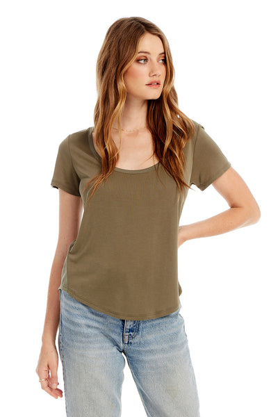 Basic Scoop Neck Tee With Side Rib Insets in Olive Green