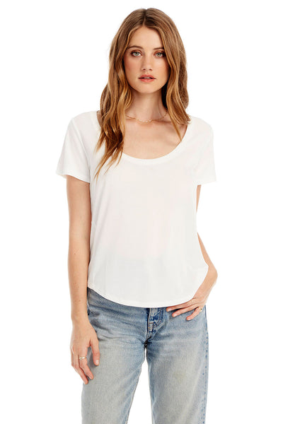 Basic Scoop Neck Tee With Side Rib Insets in White