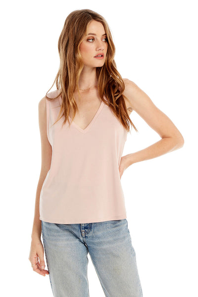 Basic V-Neck Muscle Tank in Bellini