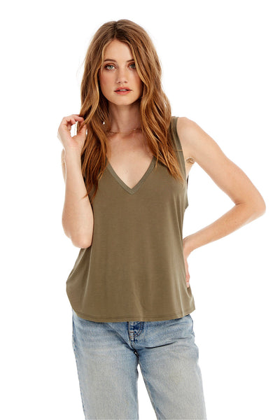 Basic V-Neck Muscle Tank in Olive Green