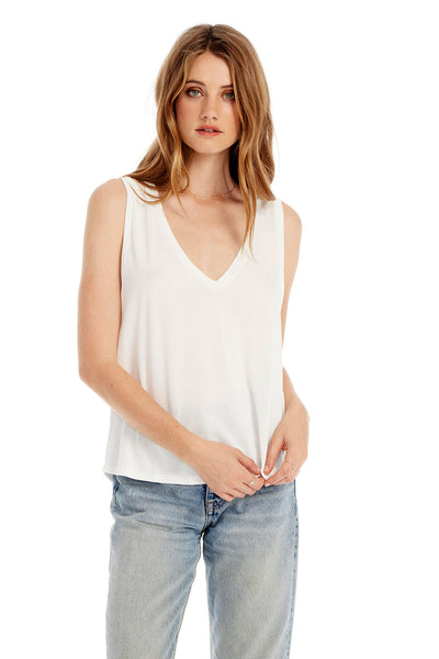 Basic V-Neck Muscle Tank in White