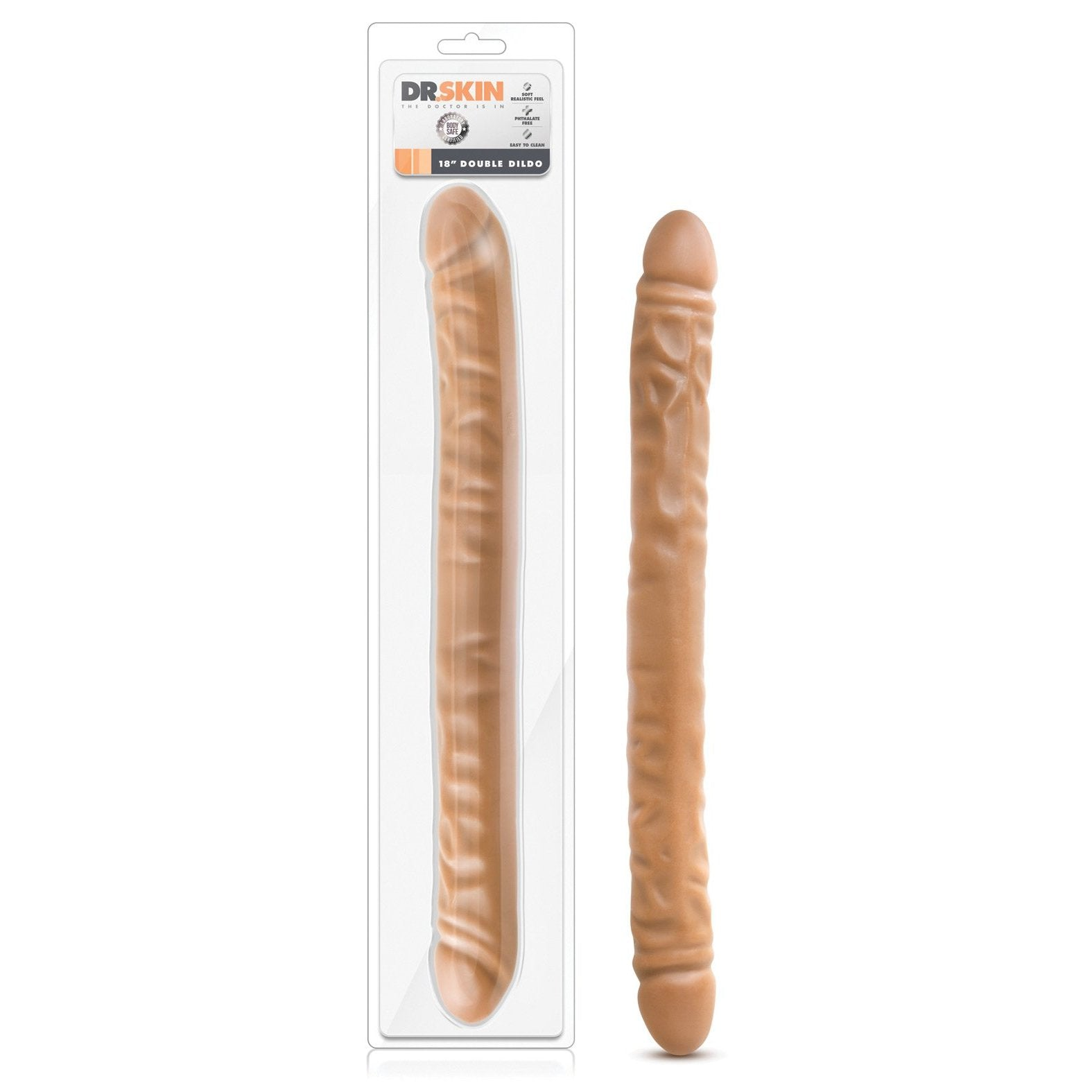 "Blush Dr. Skin 18"" Double Dildo - Gay Men's Sex Toys - Adam's Toy Box"