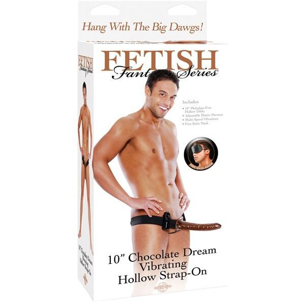 "Fetish Fantasy 10"" Chocolate Dream Vibrating Hollow Strap On-Adam's Toy Box"